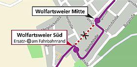 Ortsplan von Wolfartsweier mit der Umleitungsroute der Buslinien 27, 47, 107 und 118.