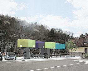 regiomove-Ports stehen in der Natur. Daneben steht ein E-Fahrzeug von BMW