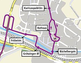 Stadtplan von Grötzingen mit der Umleitungsroute der Buslinie 21 in lila