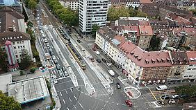 Luftbild / Drohnenaufnahme der Haltestelle Yorckstraße, die barrierefrei umgebaut wurde.