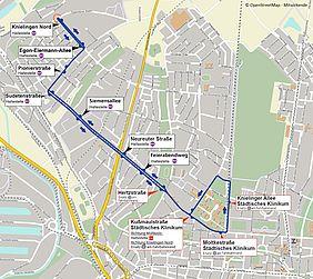 Stadtplan der Karlsruher Weststadt mit dem Fahrweg des Schienenersatzverkehrs