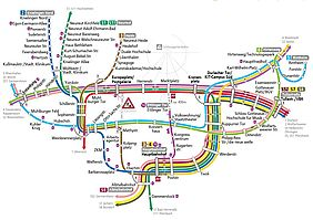 Die Grsfik zeigt den Umleitungplan während der Baumaßnahme. Den jeweiligen Bahnlinien sind unterschiedliche Farben zugeordnet. Zudem sind auf der Grafik die verschiedenen Haltestellen im Stadtgebiet von Karlsruhe namentlich aufgeführt..