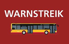 Gezeichneter Bus auf rotem Hintergrund mit dem Hinweis Warnstreik.