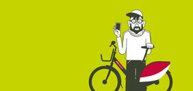 Comicfigur steht mit einem Nextbike vor einem grünen Hintergrund. In der Hand hält der Mann sein Smartphone.