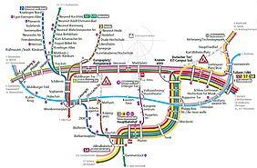 Die grafik zeigt da Umleitungskonzept für den Tram-und Stadtbahnverkehr in karlsruhe vom 25. Mai bis 7. Juni. in verschiedenen Farben sind die einzelnen linienverläufe dargestellt, grau schraffiert sind die gesperrten Strckenabschnitt im Bereich Karl-Wilhelm-Platz und am Karlstor eingezeichnet.