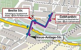 Die Grafik zeigt in grau-gelb-weißer Farbe den Stadtplan von Karlsruhe Beiertheim. Darin eingezeichnet ist die Umleitungsroute der Buslinien 50 und 51 und die Lage der Ersatzhaltestellen.