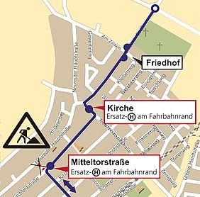 Die Grafik zeigt den Stadtplan von Karlsruhe-Neureut. Darauf sind die Umleitungsroute der Buslinie 72 und die verlegten Haltestellen eingezeichnet.