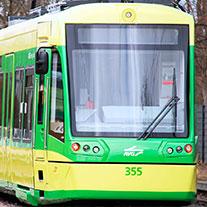 Grün gelbe Bahn.